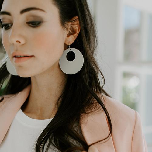 N&S Select Gray Nova Leather Earrings