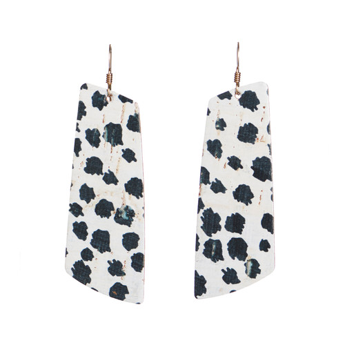 Spotted Cork Gem Leather Earrings | Nickel and Suede