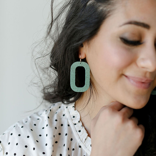 Sea Glass Bloch Leather Earrings