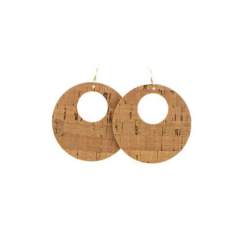 Gold Cork Nova Leather Earrings