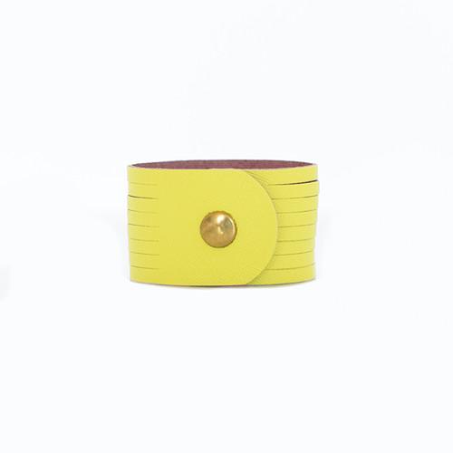 Citron Slit Leather Cuff