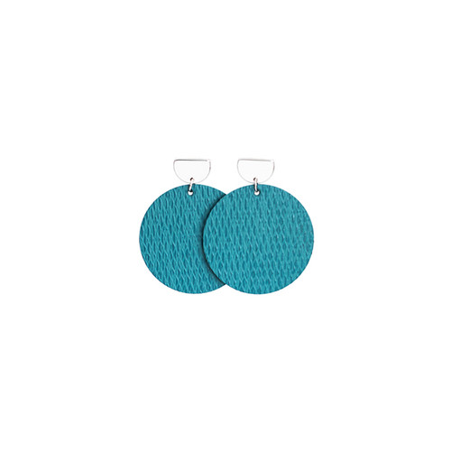 Salt Water Disc Statement Leather Earrings with Silver Post