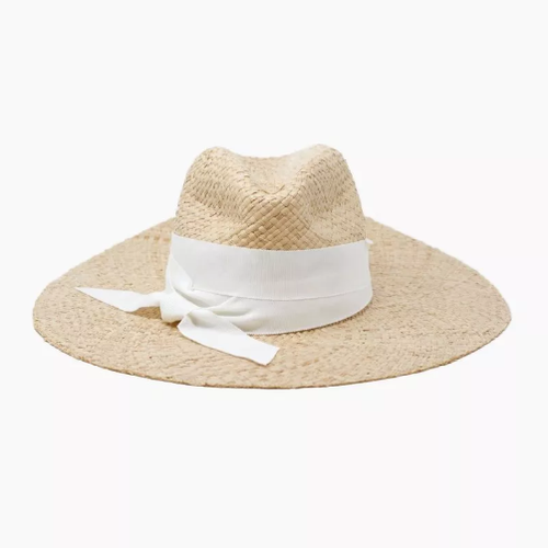 Cara Wide Brim Straw Hat with Ribbon