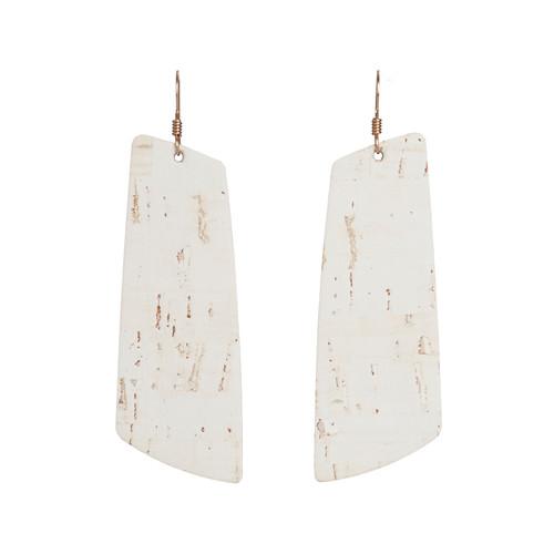 White Cork Gem Leather Earrings
