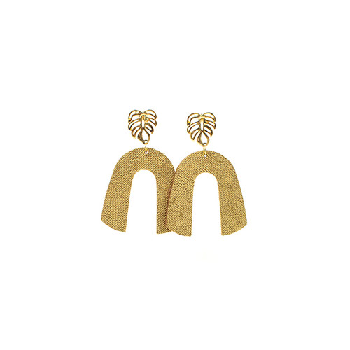 Gold Leaf Beau Leather Earrings with Palm Post