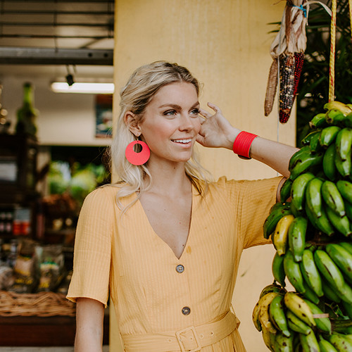 Bright Melon Nova Leather Earrings