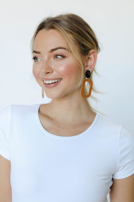 London Tan Bloch Leather Earrings with Tortoise Post | Nickel and Suede