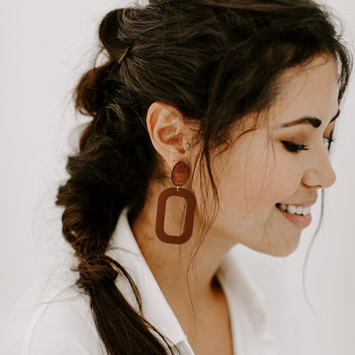 Brown Bloch Leather Earrings with Wood Post