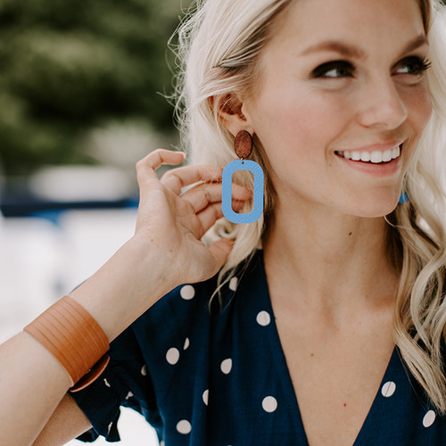 Santorini Bloch Leather Earrings with Wood Post
