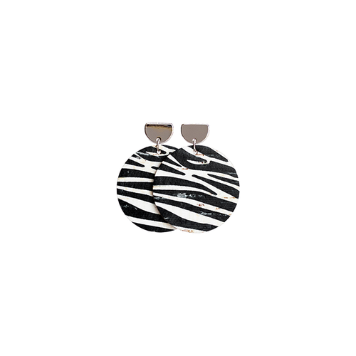 Zebra Cork Disc Leather Earrings with