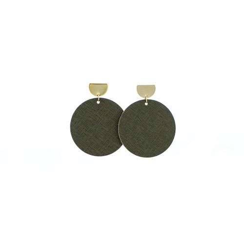 Green Fatigue Disc Statement Leather Earrings with Gold Post