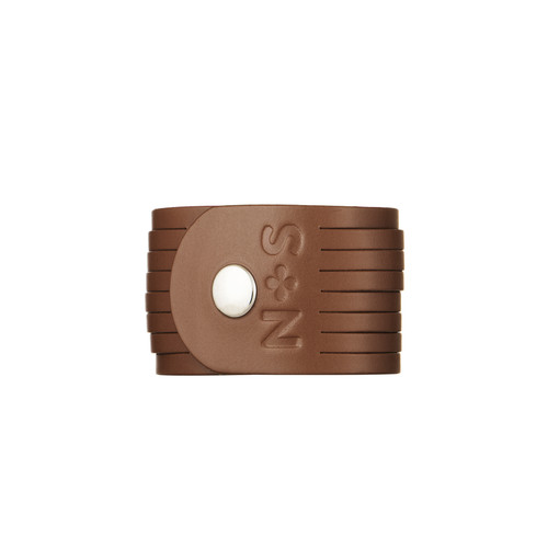 Cognac Slit Leather Cuff | Nickel and Suede