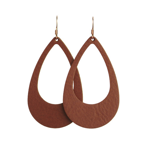 Cognac Cut-Out Leather Earrings | Nickel and Suede