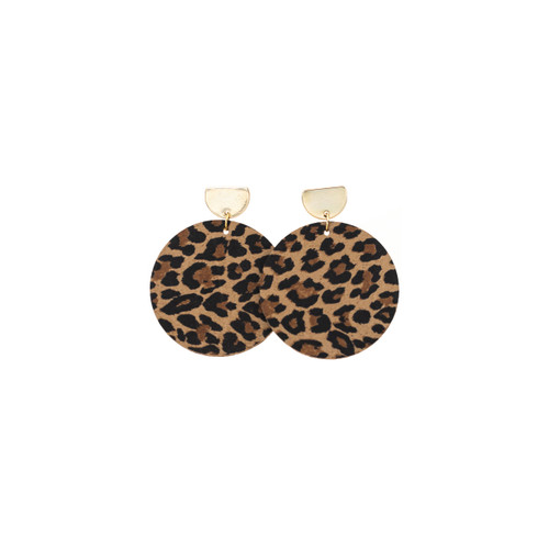 Spotted Leopard Disc Statement Leather Earrings with Gold Post