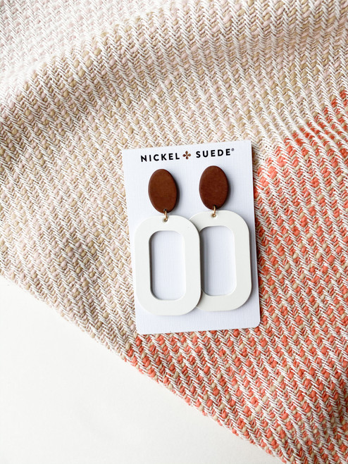 White Bloch Leather Earrings with Wood Post