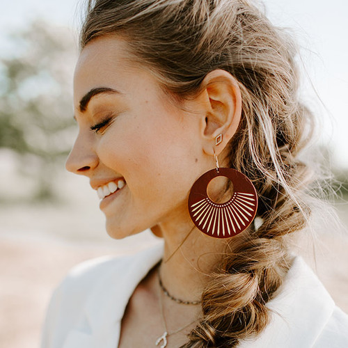 Cognac Sunburst Nova Leather Earrings