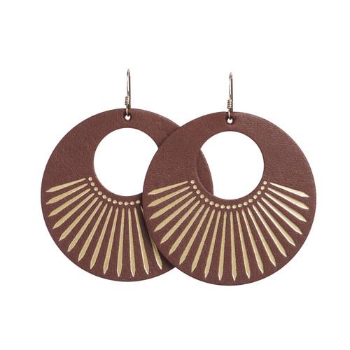 Cognac Sunburst Nova Leather Earrings   Nickel and Suede