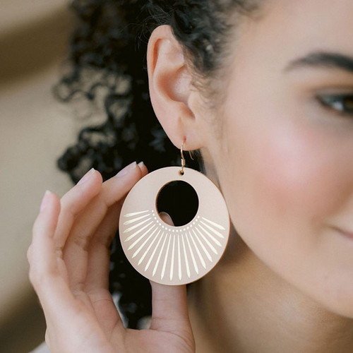 Natural Sunburst Nova Leather Earrings