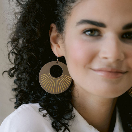 Stone Sunburst Leather Earrings