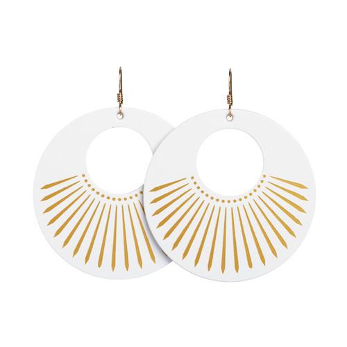 White Sunburst Nova Leather Earrings   Nickel and Suede