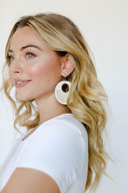 White Sunburst Nova Leather Earrings