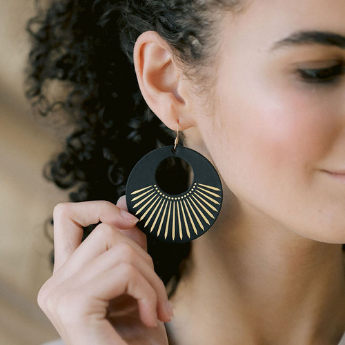 Black Sunburst Leather Earrings