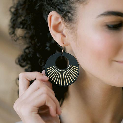 Black Sunburst Leather Earrings
