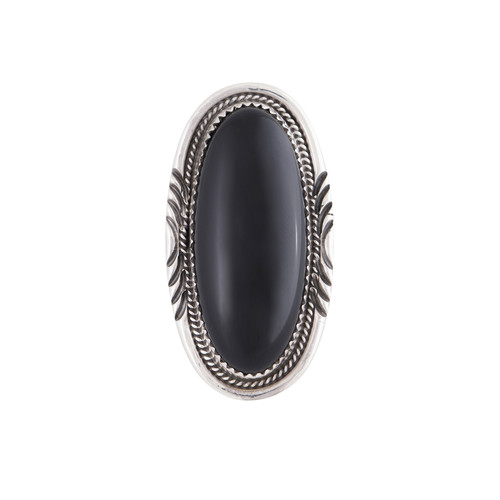 Black Cocktail Ring | Nickel and Suede