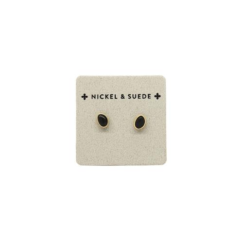 Black/Gold Oval Stud Earrings