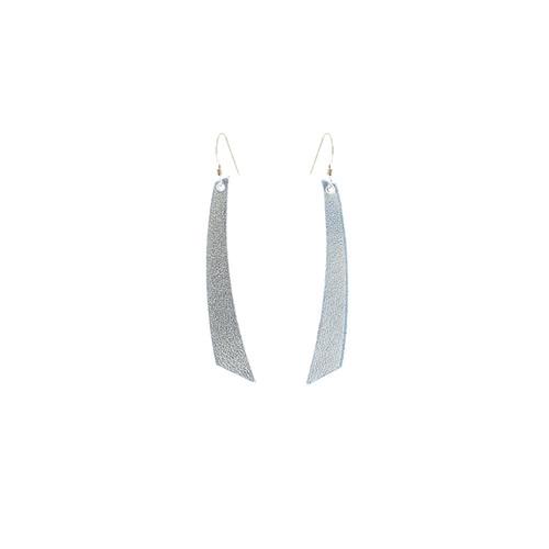 Silver Leather Earrings