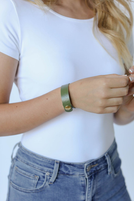 N&S Select Olive Thin Leather Cuff | Nickel and Suede