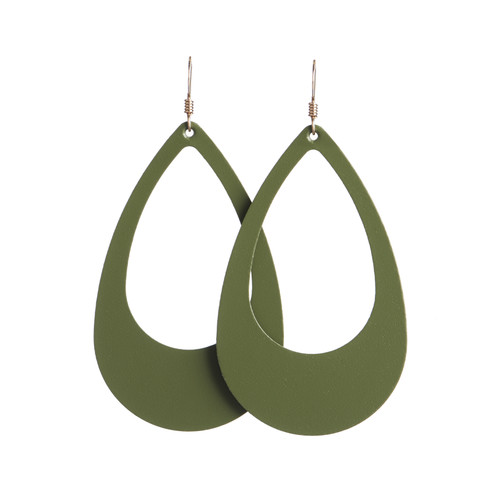 Select Olive Cut-Out Leather Earring   Nickel and Suede