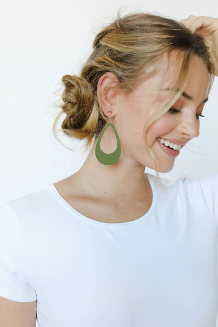 N&S Select Olive Cut-Out Leather Earrings