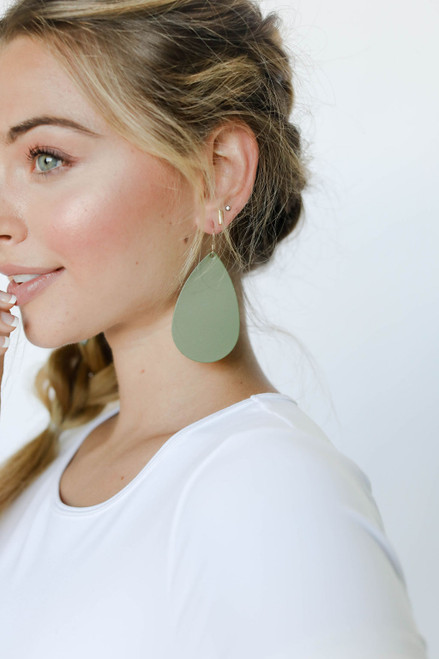 N&S Select Olive Leather Earrings