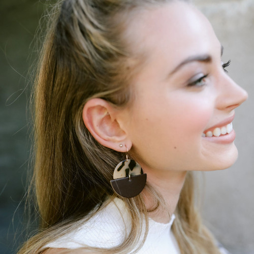 Chocolate Luna Leather Earrings