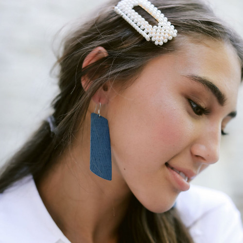 Teal Ridge Gem Leather Earrings