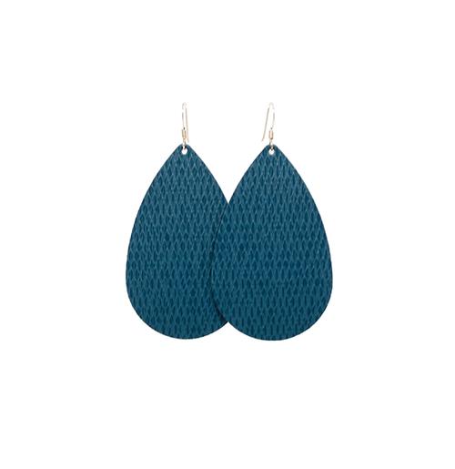 Teal Ridge Leather Earrings