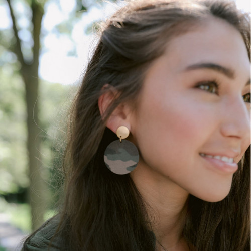 Camo Suede Disc Statement Leather Earrings with Gold Circle Post
