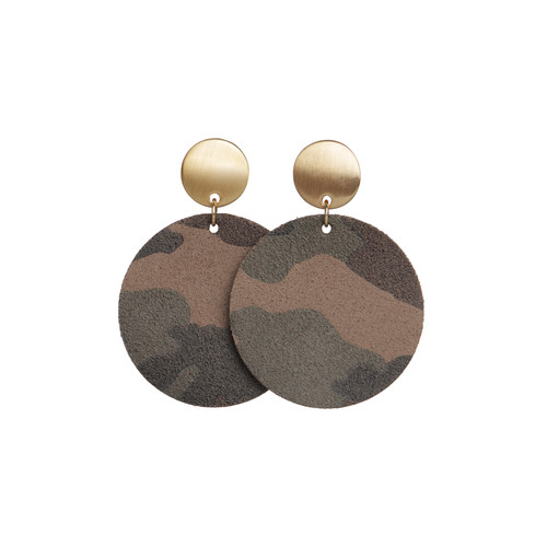 Camo Suede Disc Statement Leather Earrings | Nickel and Suede