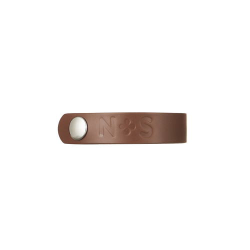Cognac Thin Leather Cuff | Nickel and Suede