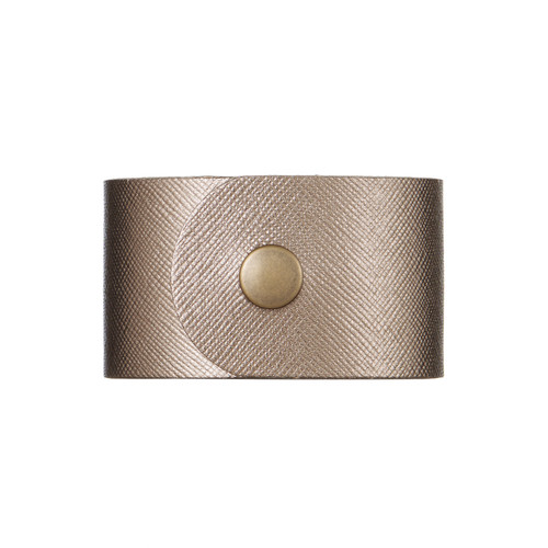 Bronze Leaf Wide Leather Cuff | Nickel and Suede