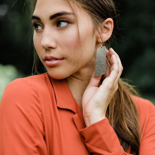Bronze Leaf Gem Leather Earrings