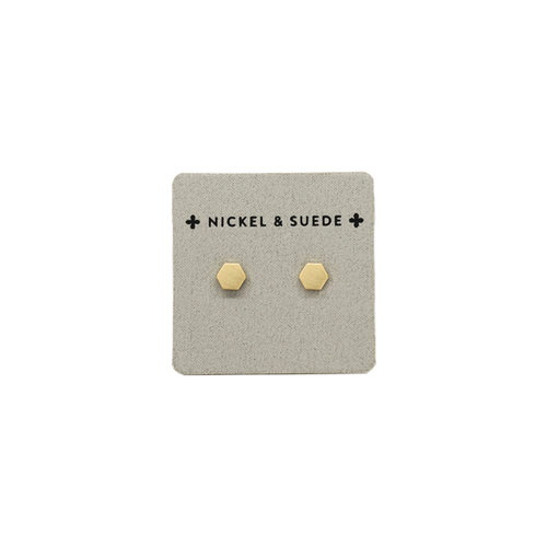 Gold Geo Stud Earrings