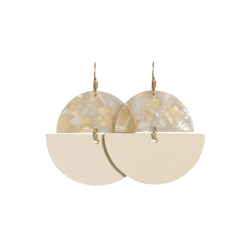Blank Canvas Luna Resin and Leather Earrings | Nickel and Suede
