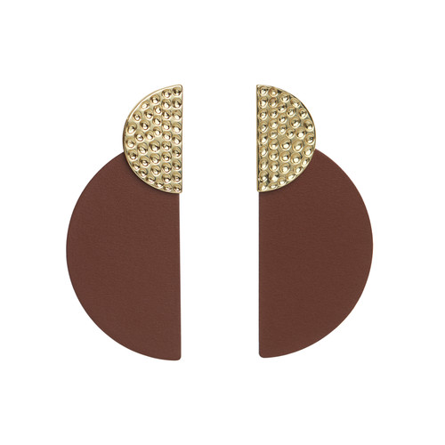 Brown Demi Statement Leather Earrings | Nickel and Suede