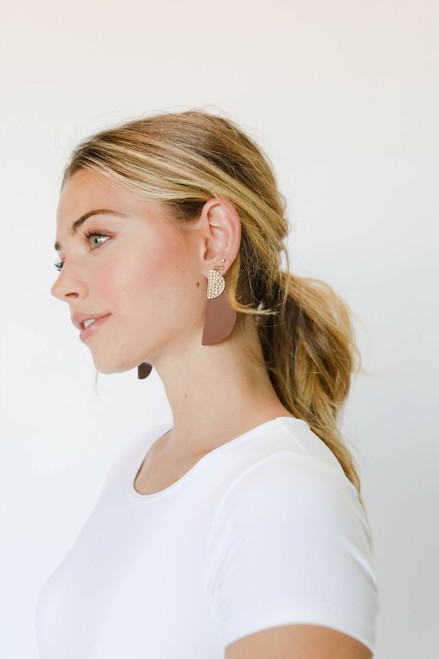 Brown Demi Statement Leather Earrings with Hammered Gold Post