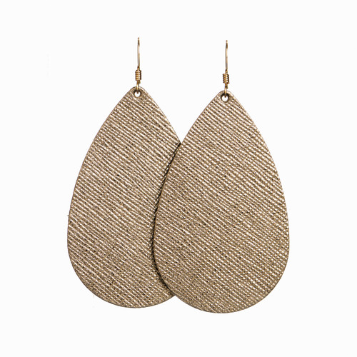 Bronze Leaf Leather Earring | Nickel and Suede