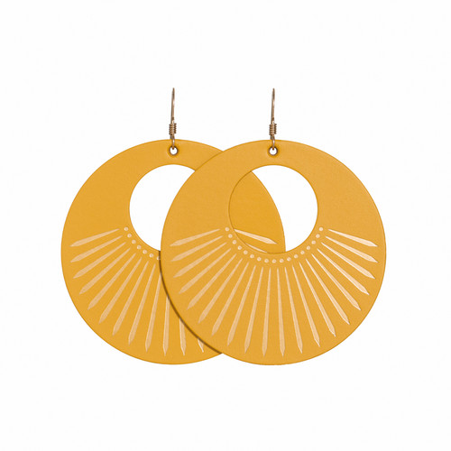Select Gold Sunburst Nova Leather Earrings | Nickel & Suede