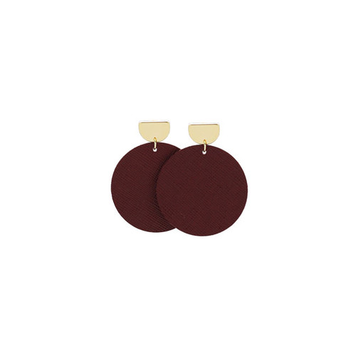 Merlot Disc Statement Leather Earrings with Gold Post