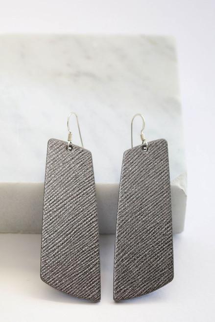 Gunmetal Gem  | Nickel and Suede Leather Earrings